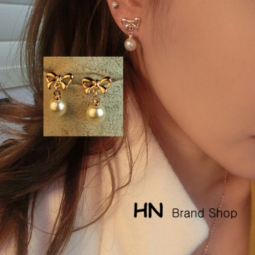 HN Brand-1 pair/Set New Beautiful Hot Bow shaped Pearl Earrings For Women Jewellery Gift gold 1.3cm*1.9cm