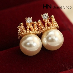 HN Brand-1 pair/Set New Beautiful Diamond crown Pearl stud earring For Women Jewellery Gift gold 1cm*1.7cm