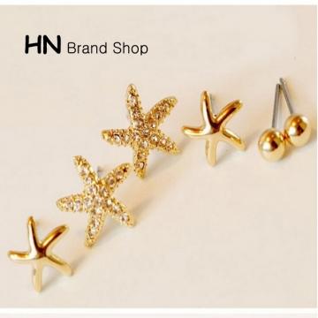HN Brand-3 piece/Set New Beautiful Beads Starfish flowers stud earring For Women Jewellery Gift gold 0.8cm
