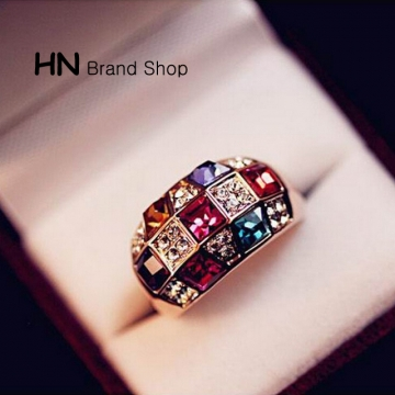 HN Brand-1piece/Set New Beautiful Luxury Crystal Symphony noble Rings For Women Jewellery Gift as picture Diameter:1.8cm