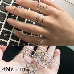 HN Brand-6 piece/Set New Beautiful Cross personality metal combination Rings Women Jewellery Gift gold diameter:1.8cm