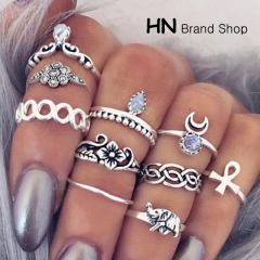 HN Brand-10 piece/Set New Beautiful Carved Flower gem crystal Rings Women Jewellery Gift gold diameter:1.5cm