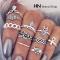 HN Brand-10 piece/Set New Beautiful Carved Flower gem crystal Rings Women Jewellery Gift gold diameter:1.5cm