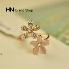 HN Brand-1 piece/Set New Beautiful cat's-eye Five Diamond Flowe Rings Women Jewellery Gift gold diameter:1.75cm