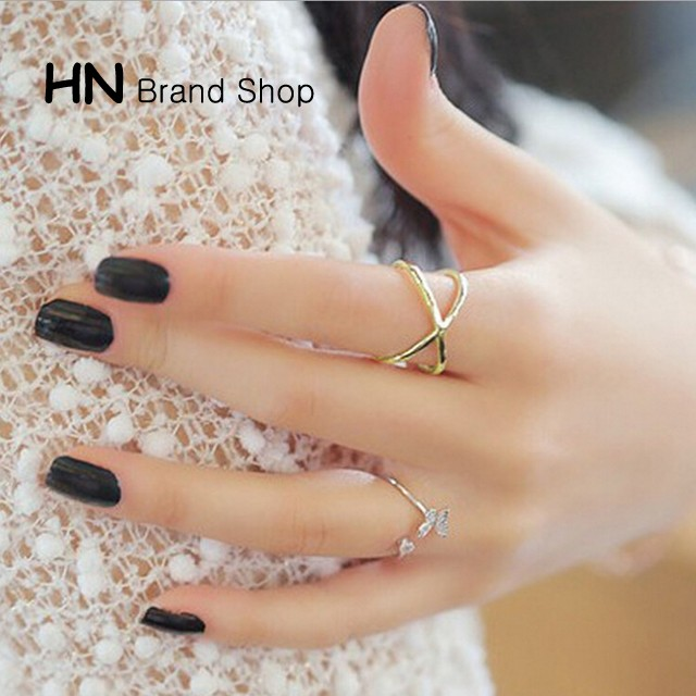 HN Brand-1 piece/Set New Beautiful X Crossed solid piercedRings Women Jewellery Gift gold diameter:1.6cm