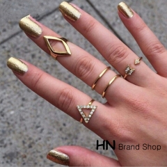 HN Brand-5 piece/Set New Beautiful arrow triangle diamond Metal suit Rings Women Jewellery Gift gold one size