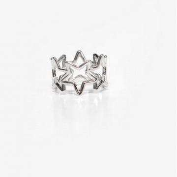 HN Brand-1 piece/Set New Beautiful Hollow diamond five star Rings Women Jewellery Christmas Gift silver Diameter:1.7cm