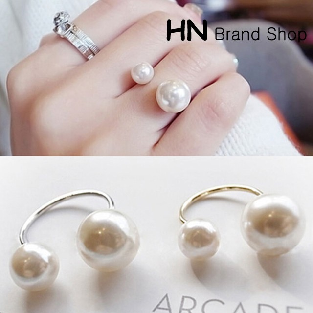 HN Brand-1 piece/Set New U Shape opening adjustable size Pearl Rings Women Jewellery Christmas Gift gold one size