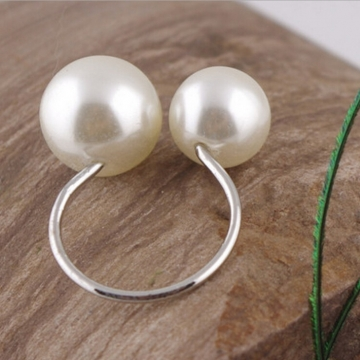 HN Brand-1 piece/Set New U Shape opening adjustable size Pearl Rings Women Jewellery Christmas Gift silver one size