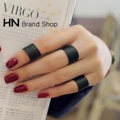 HN Brand-3 piece/Set New Beautiful Matte matte opening Rings Women Jewellery Christmas Gift black one size