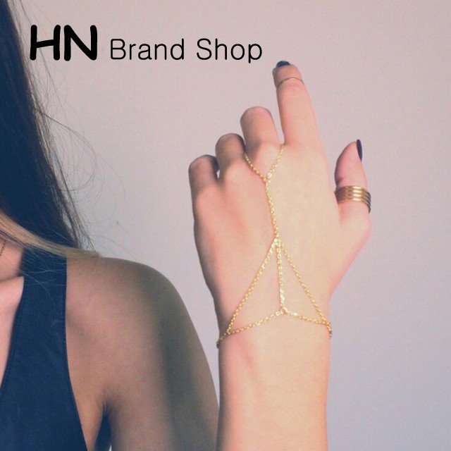 HN Brand-1 piece/Set New Beautiful metal chain Popular Rings Women Jewellery Christmas Gift gold one size
