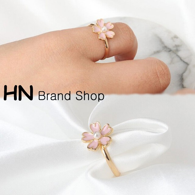 HN Brand-1 piece/Set New Exquisite Cherry Blossom Pearl metal Rings Women Jewellery Christmas Gift Pink diameter:1.7cm