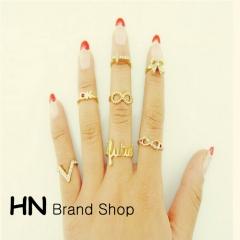 HN Brand-7 piece/Set New Diamond 8 words V characters butterfly cross metal Rings Women Jewellery gold one size