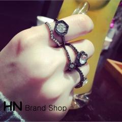 HN Brand-5 piece/Set New Beautiful Pearl bright diamond metal Rings Women Jewellery Christmas Gift black one size