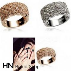 HN Brand-1 piece/Set New Beautiful Shining full diamond metal Rings Women Jewellery Christmas Gift gold diameter:1.74cm