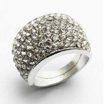 HN Brand-1 piece/Set New Beautiful Full drill Diamond metal Rings Women Jewellery Christmas Gift silver diameter:1.67cm
