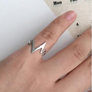 HN Brand-1 piece/Set New BeautifulArc lightning cardiogram Metal Rings Man And Women Jewellery gold diameter:1.7cm