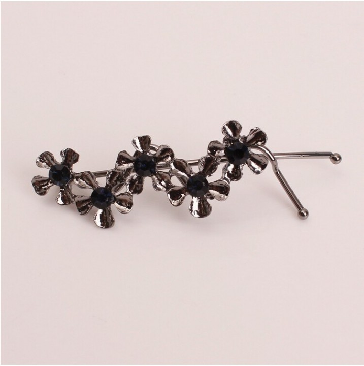 HN Brand-1 piece/Set New Flower leaves Alloy Hairpin For Women Hair Jewellery Accessories Gift Black 7.25cm*2.08cm
