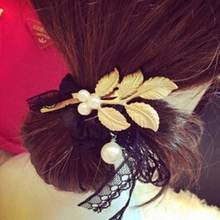 HN 1 piece/Set New Pearl metal leaf hairpin Europe and America wind accessories Women Hair Jewellery gold as picture