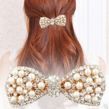 HN-1 piece/Set New Pearl diamond butterfly knot jewelry ornaments hairpin Women Hair Jewellery gold as picture