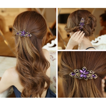HN-1 piece/Set New Fashion boutique Wuhua crystal shine soil drill hairpin Women Hair Jewellery Purple as picture