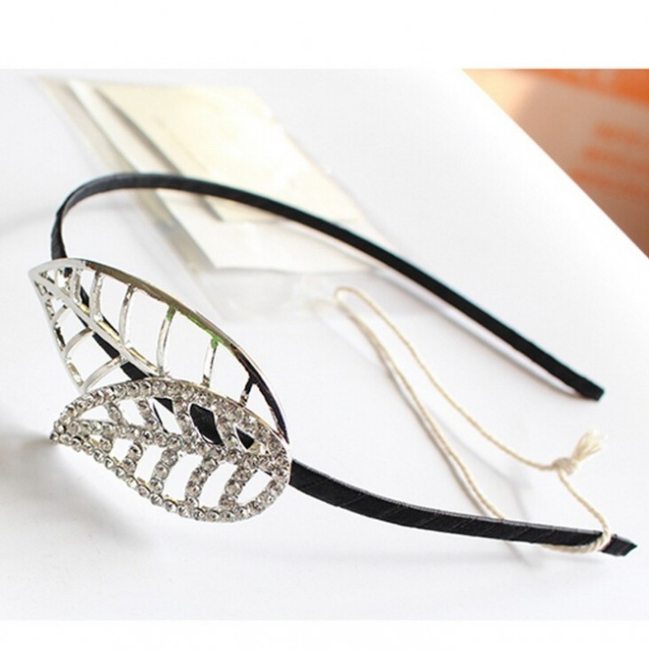 HN-1 piece/Set New Alloy Rhinestone Leaves hair hairpin accessories Women Hair Jewellery silver as picture