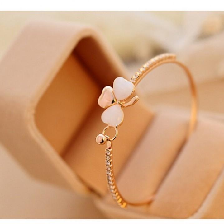 HN-1Pcs/Set New Fashion Clover cat eye Metal Bracelets Bangles Women Jewellery Gift gold as picture