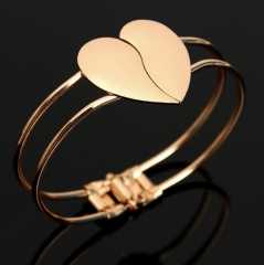 HN-1Pcs/Set New Fashion Bright face double heart Metal Bracelets Bangles Women Jewellery Gift gold as picture