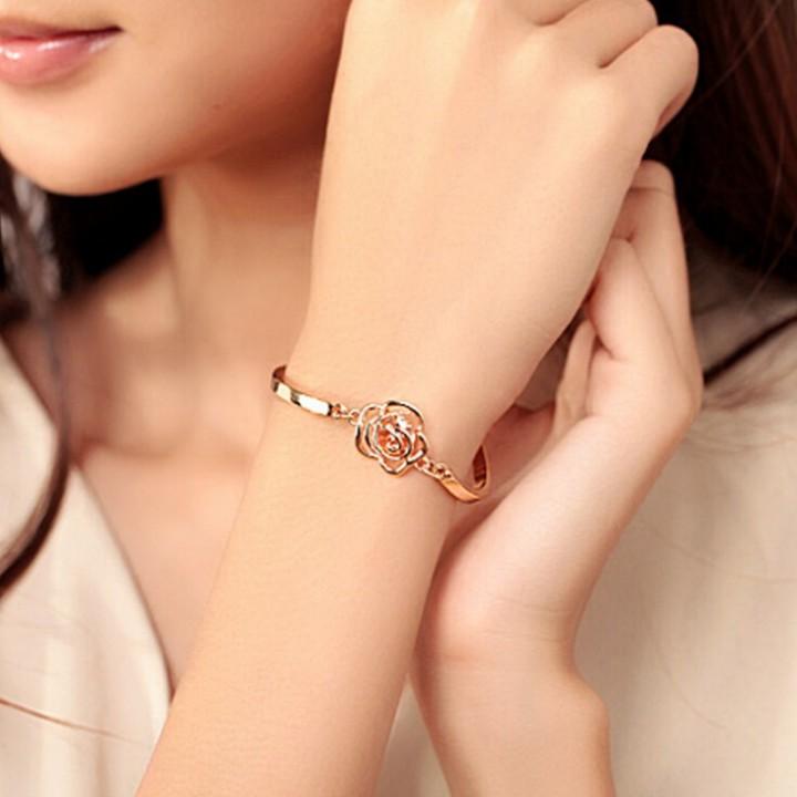 HN-1Pcs/Set New Fashion Rose Camellia zircon Metal Bracelets Bangles Women Jewellery Gift gold as picture