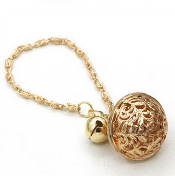 HN-1Pcs/Set New Fashion COS Gong bells Metal Bracelets Bangles Women Jewellery Gift Gold as picture