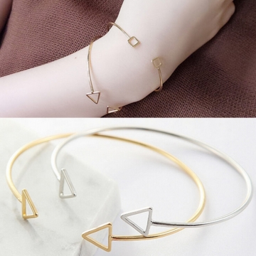 HN-1Pcs/Set New Fashion Hollowed triangular geometric Metal Bracelets Bangles Women Jewellery Gift gold 1 as picture
