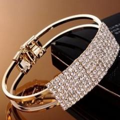HN-1Pcs/Set New Fashion Square diamond Multiple rows of drilling Metal Bracelets Women Jewellery gold as picture