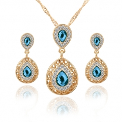 HN-3 Piece/Set New Beautiful Crystal Stud Earrings Necklace Pendant Set  For Women Jewellery Gift Blue as picture