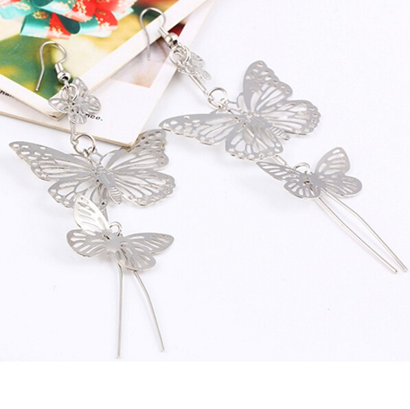 HN-1 Pair/Set New Beautiful Alloy Double bow Butterfly drop earring For Women Jewellery Gift silver as picture