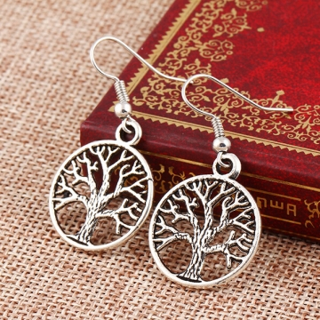 HN-1 Pair/Set New Beautiful Personality hollow peace tree Drop earrings For Women Jewellery Gift silver as picture