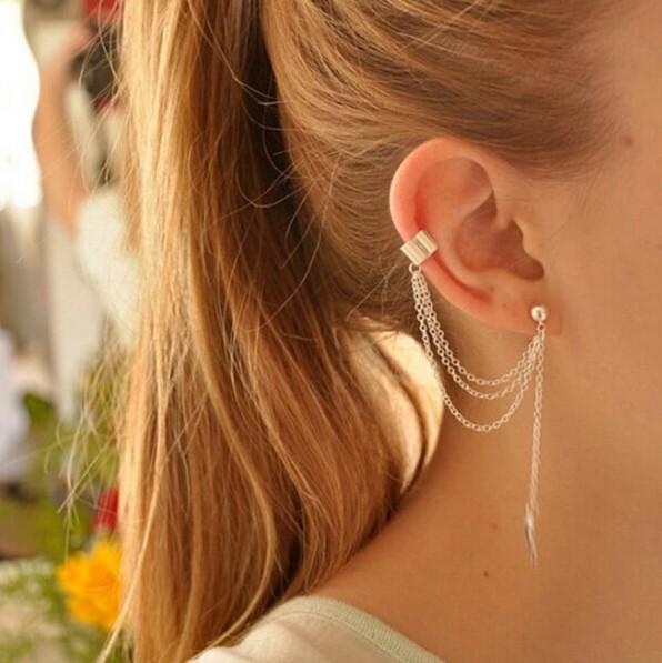 HN-1 Pcs New Beautiful Metal leaf tassels Drop stud earrings For Women Jewellery Gift gold as picture