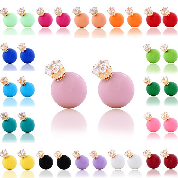 HN-1 Pair/Set New Beautiful zircon Candy spherical round stud earrings For Women Jewellery Gift Color random as picture