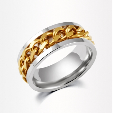 HN Brand-1 piece/Set New Stainless steel Rotatable chain zircon Wedding Rings Women Men Jewellery gold 8