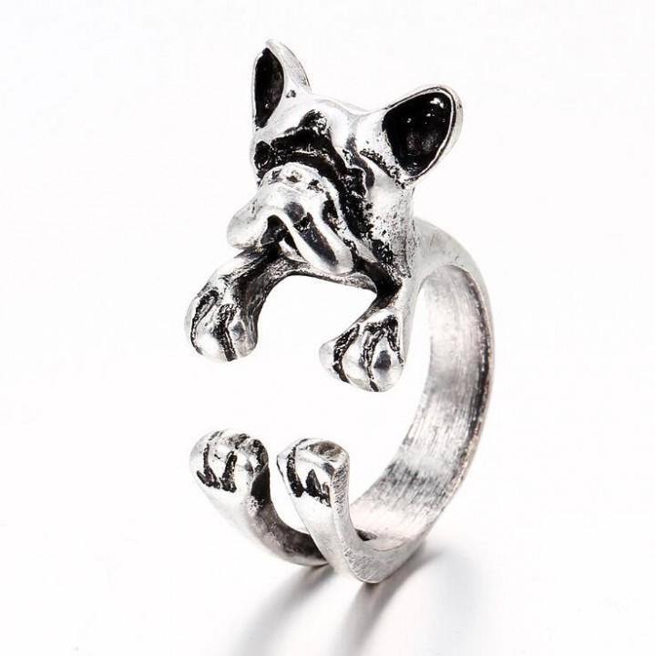 HN-1 piece/Set New Dog opening zircon diamond Wedding Rings Women Men Jewellery Christmas Gift silver as picture