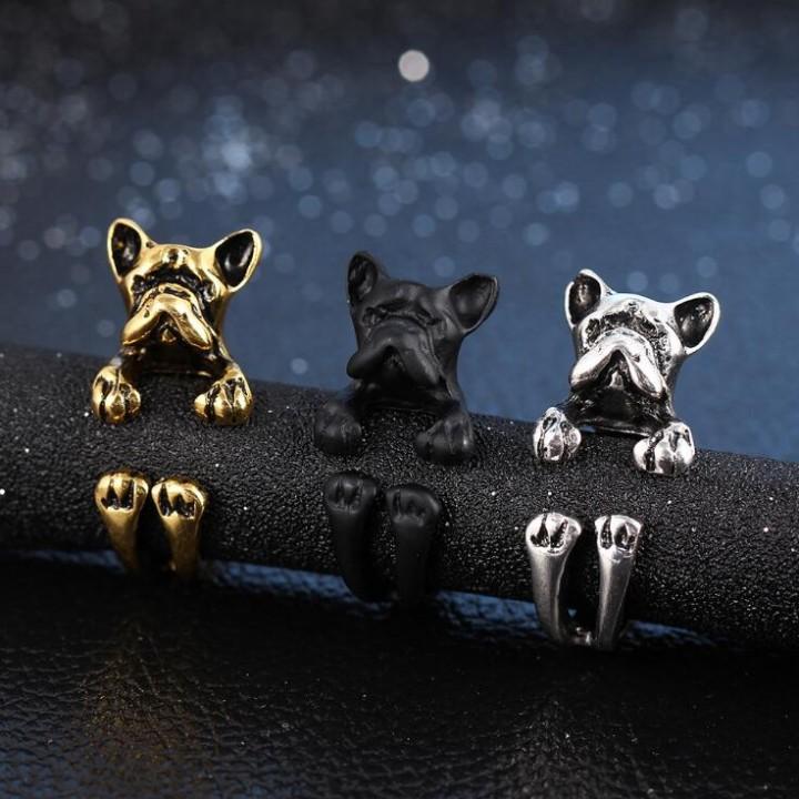 HN-1 piece/Set New Dog opening zircon diamond Wedding Rings Women Men Jewellery Christmas Gift gold as picture