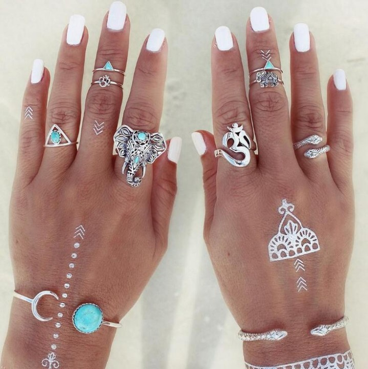 HN-8 piece/Set New Bohemia snake elephant alloy Wedding Rings Women Men Jewellery Christmas Gift silver as picture
