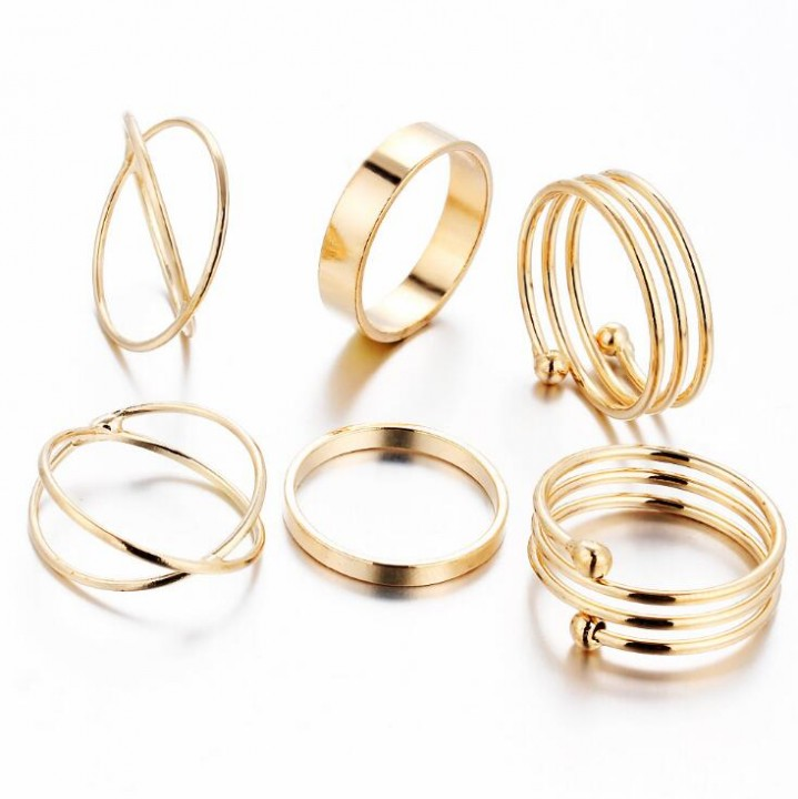 HN-6 piece/Set New Fashion Alloy personality Wedding Rings Women Men Jewellery Christmas