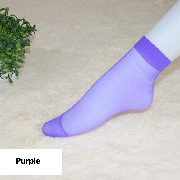 HN-1 Pair/Set New Ultrathin Ladies Transparent Invisible Crystal Socks Sexy Stockings For Women Gift Purple Elastic