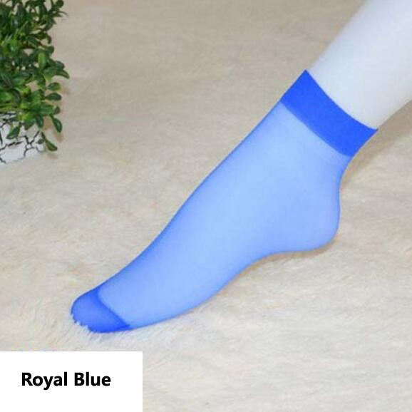 HN-1 Pair/Set New Ultrathin Ladies Transparent Invisible Crystal Socks Sexy Stockings For Women Gift Royal Blue Elastic