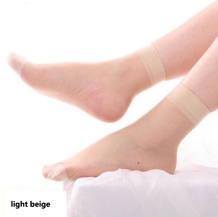 HN-1 Pair/Set New Ultrathin Ladies Transparent Invisible Crystal Socks Sexy Stockings For Women Gift light beige Elastic