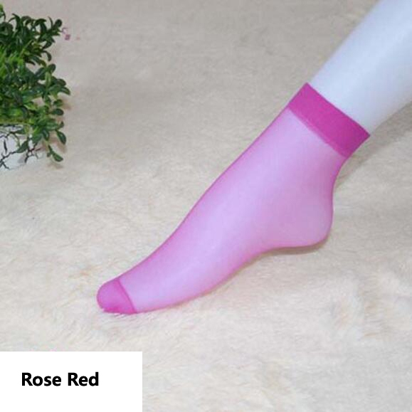 HN-1 Pair/Set New Ultrathin Ladies Transparent Invisible Crystal Socks Sexy Stockings For Women Gift Rose Red Elastic