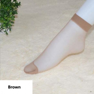 HN-1 Pair/Set New Ultrathin Ladies Transparent Invisible Crystal Socks Sexy Stockings For Women Gift Brown Elastic