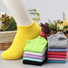 HN-1 Pair/Set New Fashion Pure Cotton Shallow Pure Color Boat Socks For Women  Accessories Gifts Yellow Telescopic elastic
