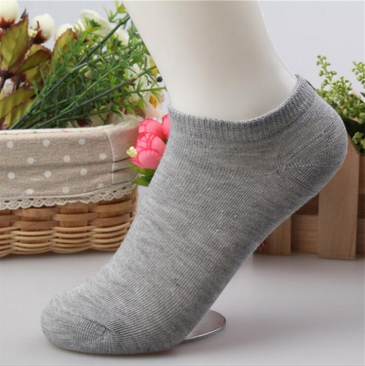 HN-1 Pair/Set New Fashion Pure Cotton Shallow Pure Color Boat Socks For Women  Accessories Gifts Gray Telescopic elastic