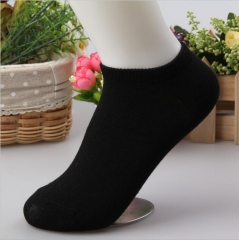 HN-1 Pair/Set New Fashion Pure Cotton Shallow Pure Color Boat Socks For Women  Accessories Gifts Black Telescopic elastic